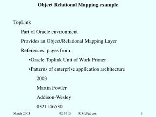 Object Relational Mapping example