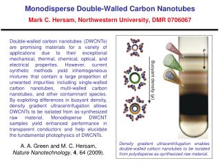 Monodisperse Double-Walled Carbon Nanotubes Mark C. Hersam, Northwestern University, DMR 0706067