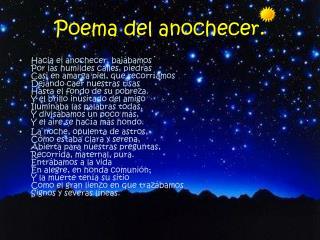 Poema del anochecer.