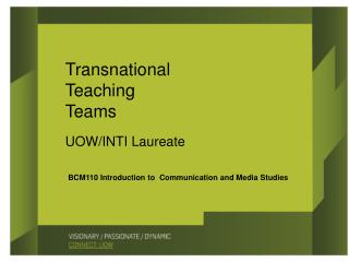 BCM110 Introduction to  Communication and Media Studies
