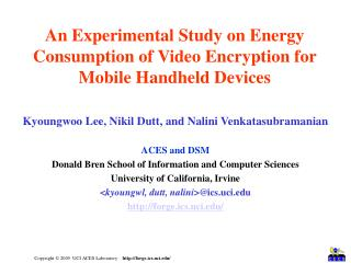 An Experimental Study on Energy Consumption of Video Encryption for Mobile Handheld Devices