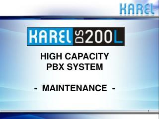 HIGH CAPACITY PBX SYSTEM -  MAINTENANCE  -