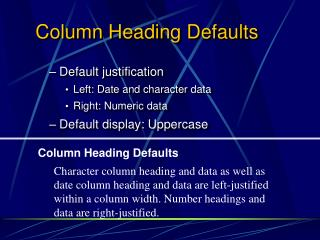 Column Heading Defaults