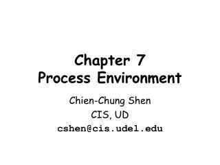 Chapter  7 Process Environment