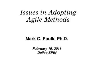 Issues in Adopting Agile Methods