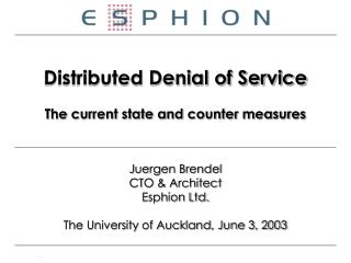 Distributed Denial of Service The current state and counter measures