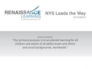 NYS Leads the Way 12/10/2013