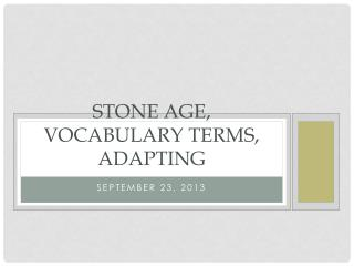Stone Age, Vocabulary Terms, Adapting