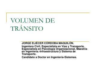 VOLUMEN DE TR�NSITO