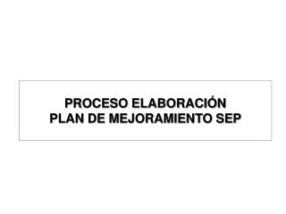 PROCESO ELABORACIÓN  PLAN DE MEJORAMIENTO SEP