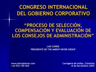 CONGRESO INTERNACIONAL  DEL GOBIERNO CORPORATIVO