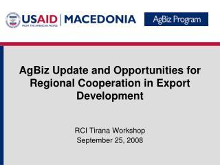 RCI Tirana Workshop September 25, 2008