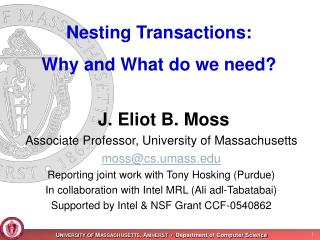 Nesting Transactions: Why and What do we need?