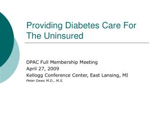 Providing Diabetes Care For The Uninsured