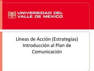 Líneas de Acción (Estrategias) Introducción al Plan de Comunicación