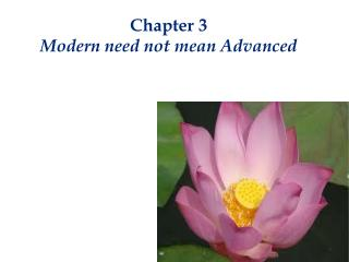 Chapter 3 Modern need not mean Advanced