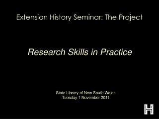 Extension History Seminar: The Project