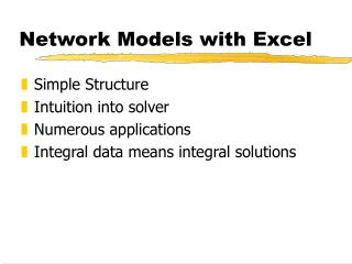 Network Models with Excel