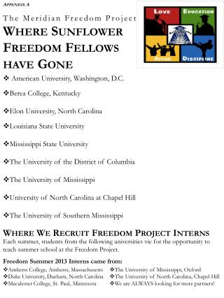 The Meridian Freedom Project Where Sunflower Freedom Fellows  have Gone
