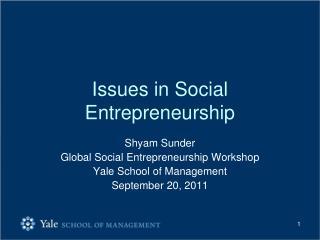 Issues in Social Entrepreneurship