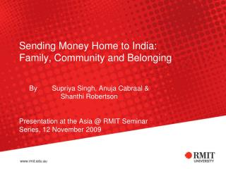 Sending Money Home to India: Family, Community and Belonging