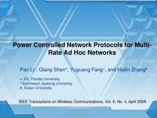 Power Controlled Network Protocols for Multi-Rate Ad Hoc Networks