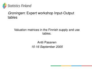 Groningen : Expert workshop Input-Output tables