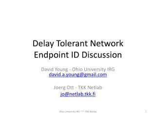 Delay Tolerant Network Endpoint ID Discussion