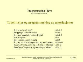 Tabell-lister og programmering av assosiasjoner