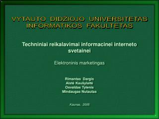 Techniniai reikalavimai informacinei interneto svetainei Elektroninis marketingas Rimantas  Dargis