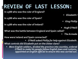 REVIEW OF LAST LESSON:
