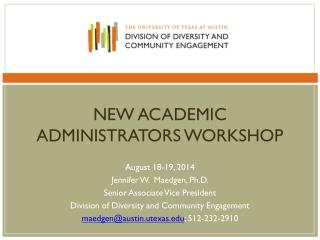 New academic administrators workshop