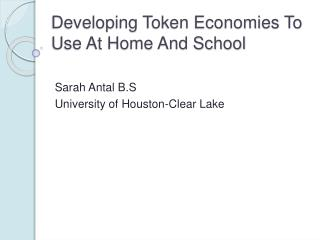 Developing Token Economies To Use At Home And School