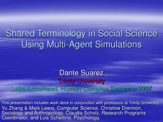 Shared Terminology in Social Science Using Multi-Agent Simulations