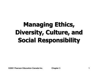 Managing Ethics, Diversity, Culture, and Social Responsibility