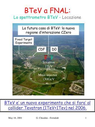 BTeV a FNAL:  Lo spettrometro BTeV -  Locazione
