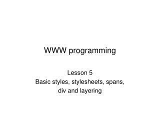 WWW programming