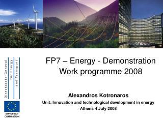 FP7 – Energy - Demonstration Work programme 2008
