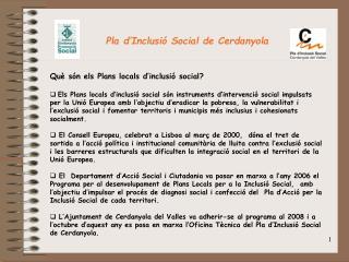 Pla d'Inclusió Social de Cerdanyola