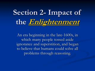 Section 2- Impact of the Enlightenment