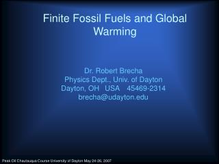 Finite Fossil Fuels and Global Warming