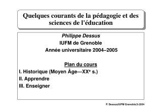 Quelques courants de la p�dagogie et des sciences de l'�ducation