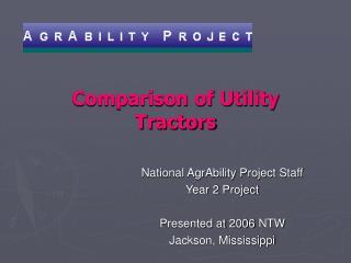 Comparison of Utility Tractors