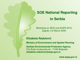 SOE National Reporting  in Serbia