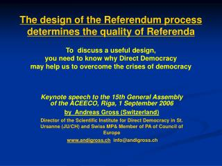 Keynote speech to the 15th General Assembly of the ACEECO, Riga, 1 September 2006