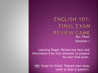 English 101: Final Exam  review game