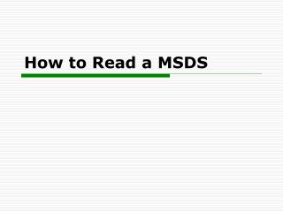 How to Read a MSDS