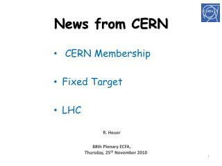 News from CERN
