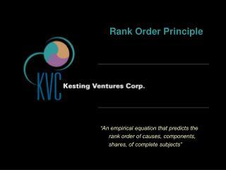 Rank Order Principle