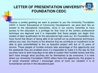 LETTER OF PRESENTATION UNIVERSITY FOUNDATION CEDC